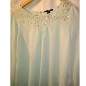 Women's Long Sleeve Sheer Blouse Small Green Gold